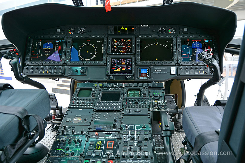Cockpit of a H225M helicopter