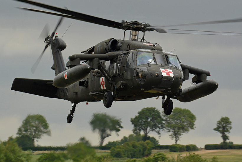US Army UH60 Blackhawk MEDEVAC helicopter