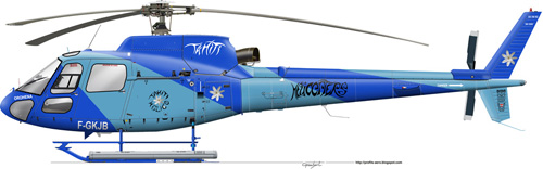 Hélicoptère AS350 Ecureuil de TAHITI HELICOPTERS