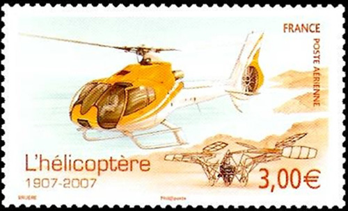 Timbre Poste L'helicoptere 1907-2007