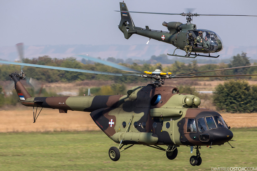 Serbian Army MI17 and SA342 Gazelle helicopters