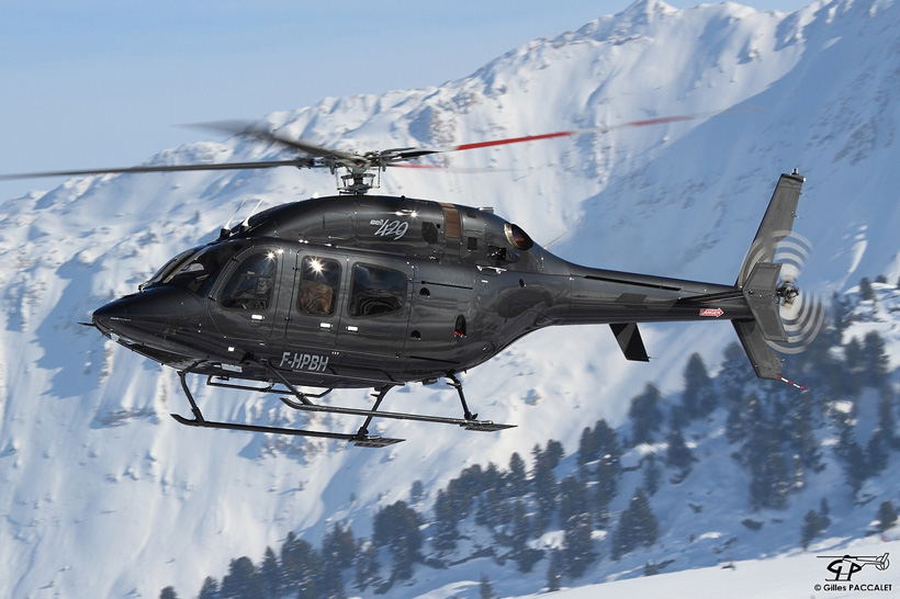 Bell 429 helicopter in French Alps