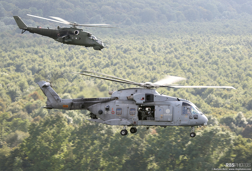 Italian Navy AW101 Merlin and Polish Army MI24 Hind helicopters
