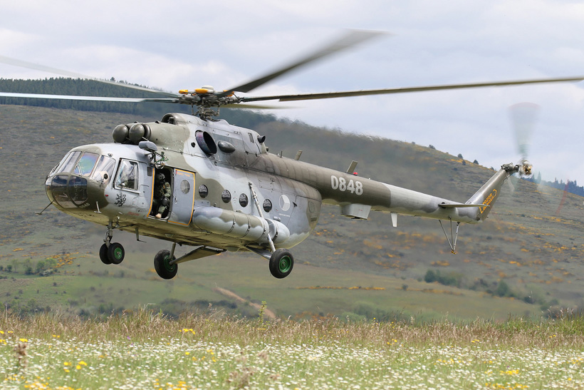 Czech MI17 helicopter in mountain flying training in the french Pyrenees