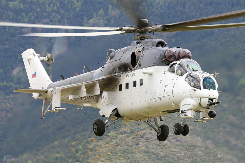 Czech MI24 Hind helicopter in mountain flying training in the french Pyrenees