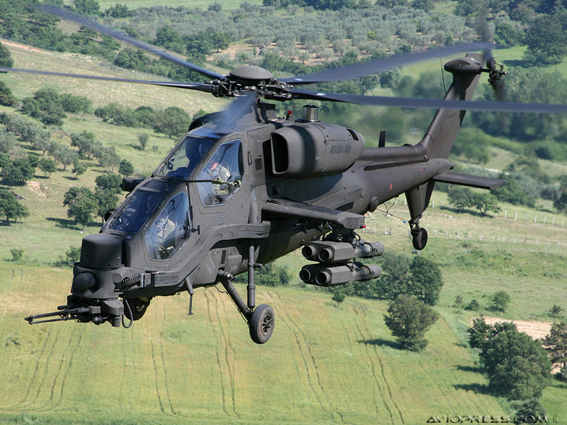 Italian Army A129 Mangusta attack helicopter